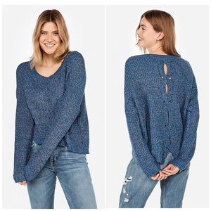 Cable Knit Split Back Pullover Sweater nwt
